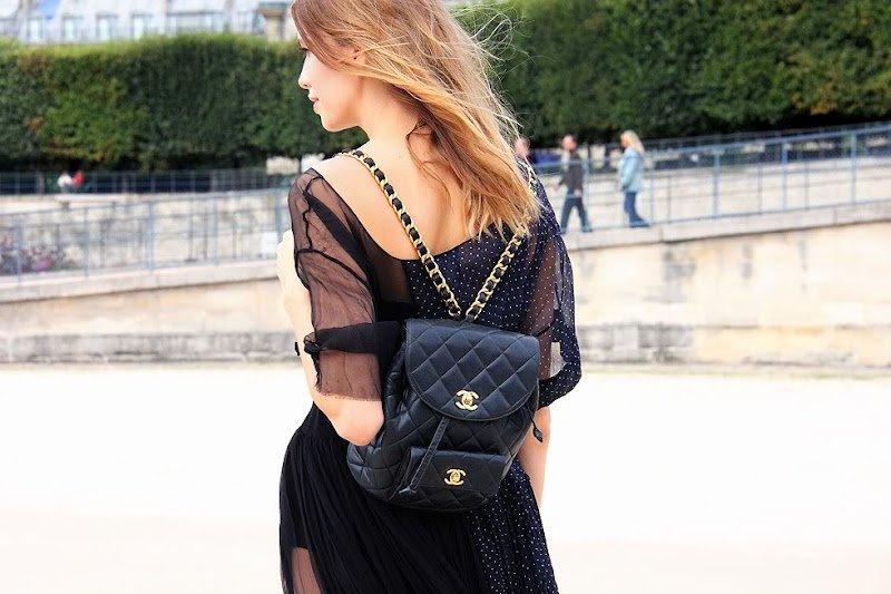 Женский рюкзак черного цвета - Шанель
