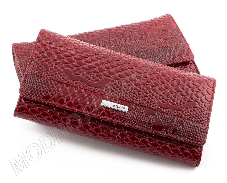 c50bdef3fd32 Лакированный красный кошелек под рептилию KARYA: продажа женских ...