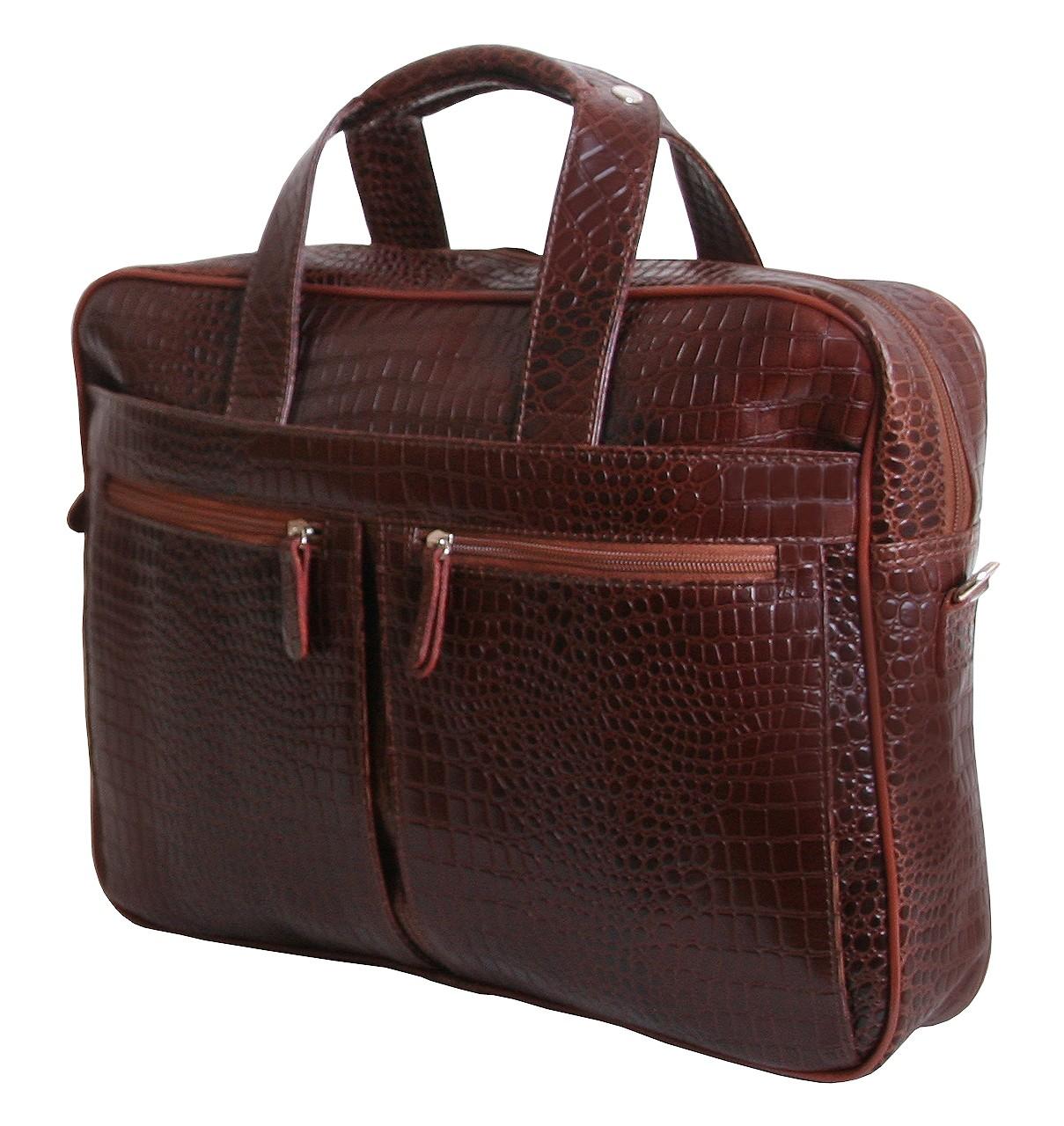 c855a2a0ff4e Элитный сумка из натуральной кожи под крокодила для ноутбука 15,6 дюймов VIP  COLLECTION (0-2083)