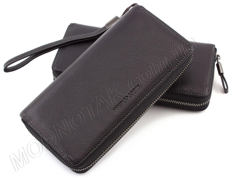 47a160c0873e Солидный кошелек на молнии с кожаным ремешком Marco Coverna (1424 black)