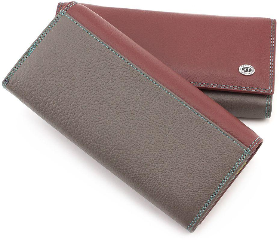 1f447230f432 Женский кошелек на кнопке из натуральной цветной кожи ST Leather (16032)