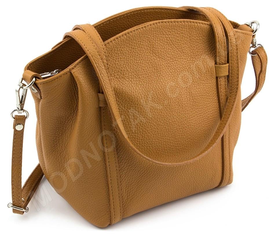 339c5ef94cd4 Кожаная итальянская женская сумка с длинными ручками Italian Genuine  Leather (28003)