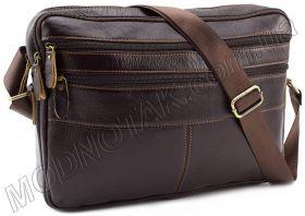 f7cdc4bd0a71 Купить. Кожаная мужская сумка-мессенджер коричневого цвета KLEVENT (11614)