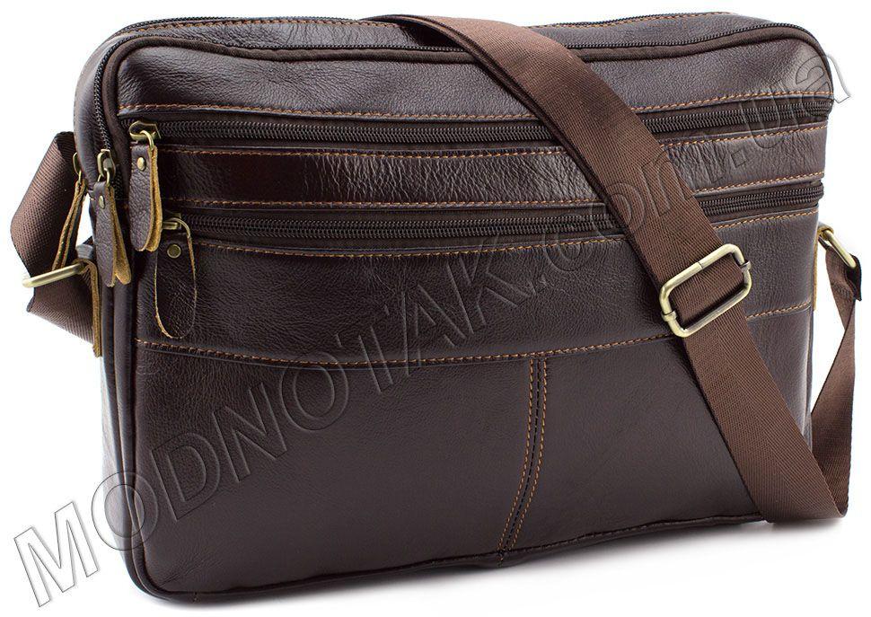 c711b6800a75 Кожаная мужская сумка-мессенджер коричневого цвета KLEVENT (11614 ...