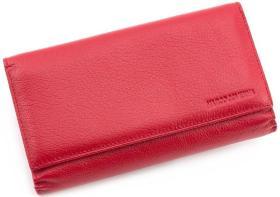 b1d90725455a Красного цвета кожаный женский кошелек под карточки MARCO COVERNA (17104)