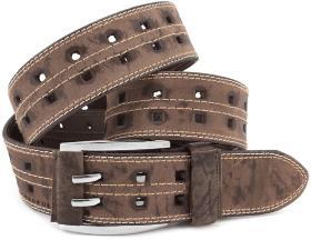 Мужской джинсовый коричневый широкий ремень с перфорацией S.T. Italian  Style (45221) f4ed45f3472f0