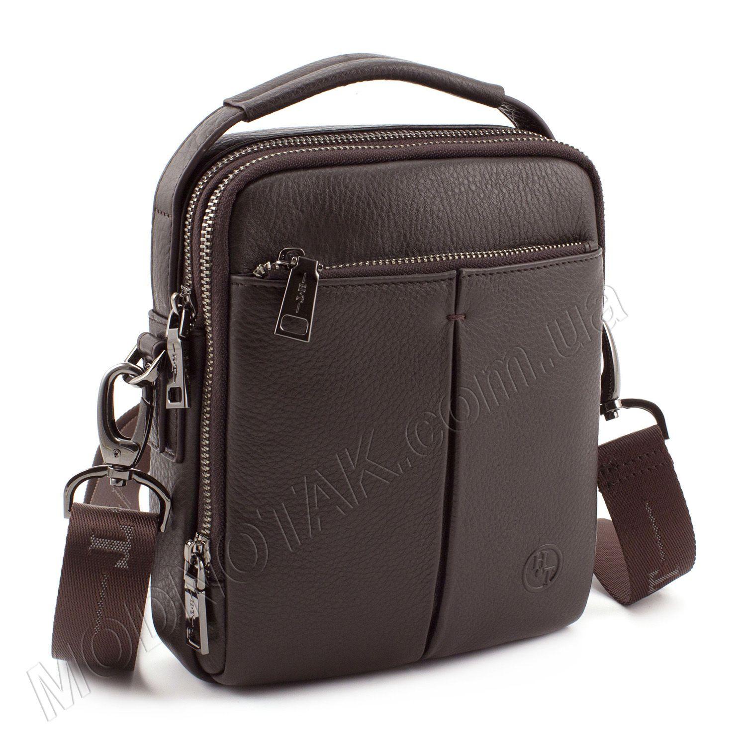 49417ad58551 Маленькая кожаная сумка коричневого цвета с ручкой H.T. Leather (422-5  brown)
