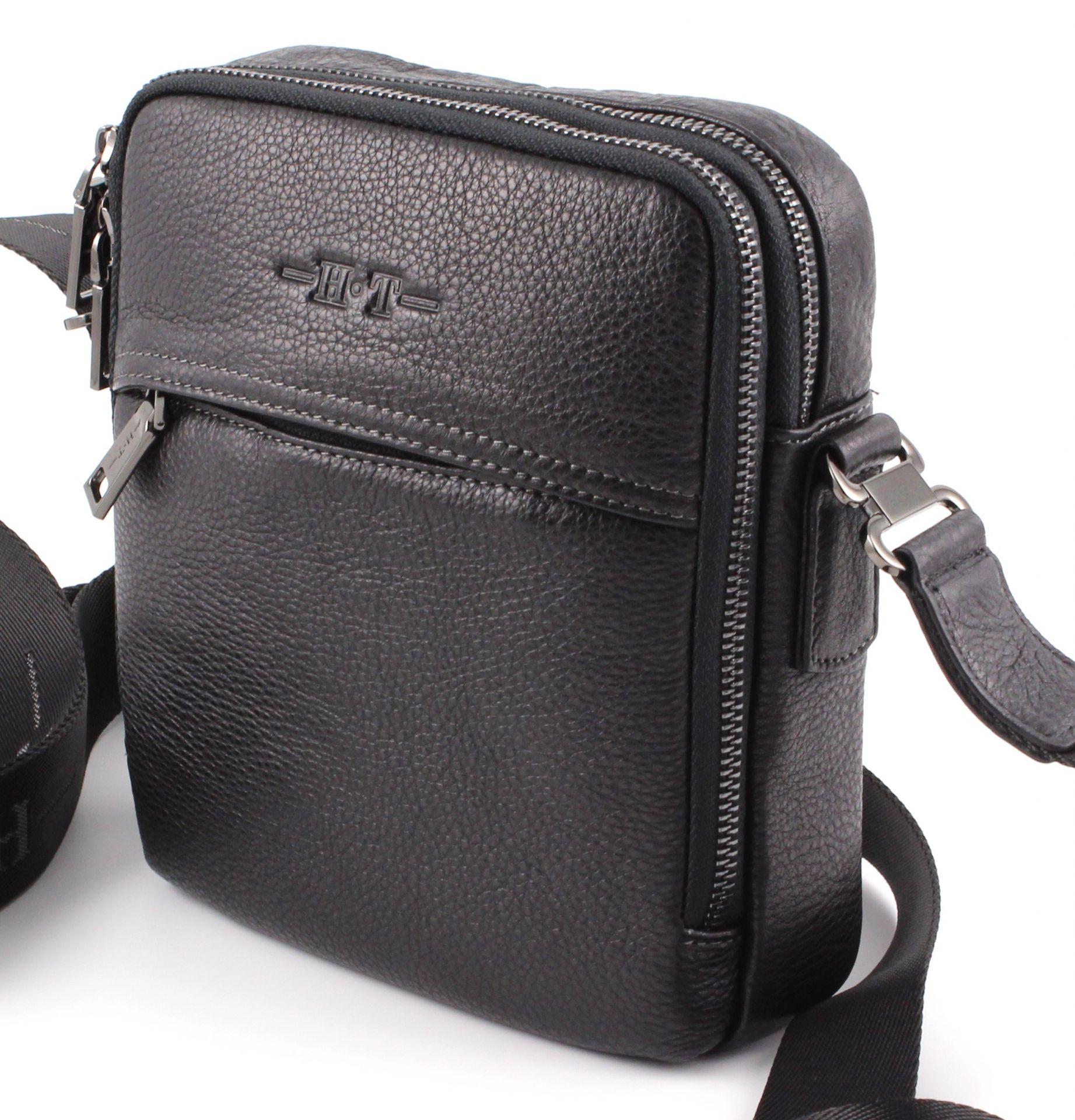 d2c378cf3549 Вертикальная мужская наплечная сумка из натуральной кожи H.T Leather (10257)