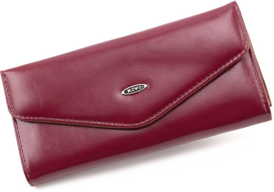 58bc6b82b440 Бордовый кошелек из кожзаменителя на кнопке Kivi (17935) купить в ...
