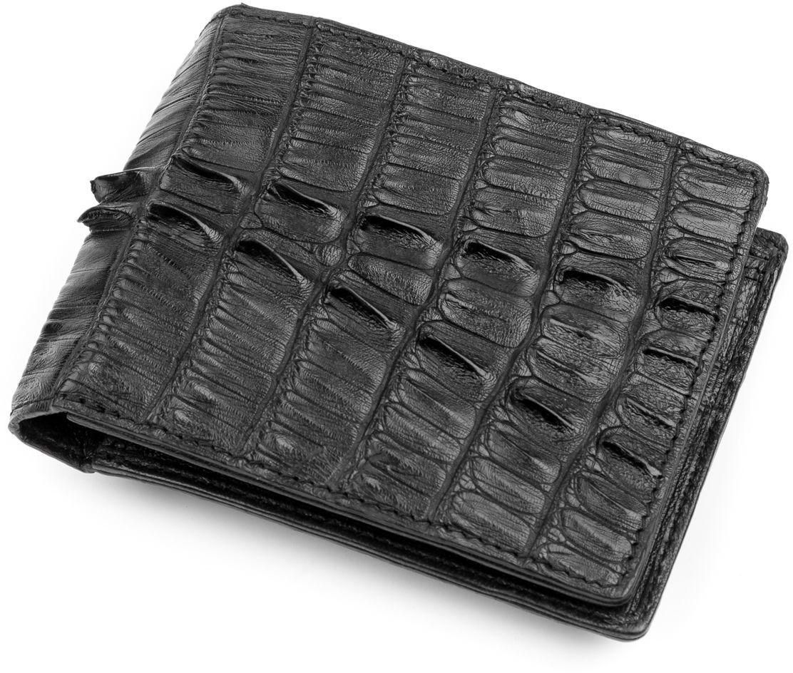 Кошелек из настоящей кожи крокодила (каймана) черного цвета CROCODILE LEATHER (024-18232)