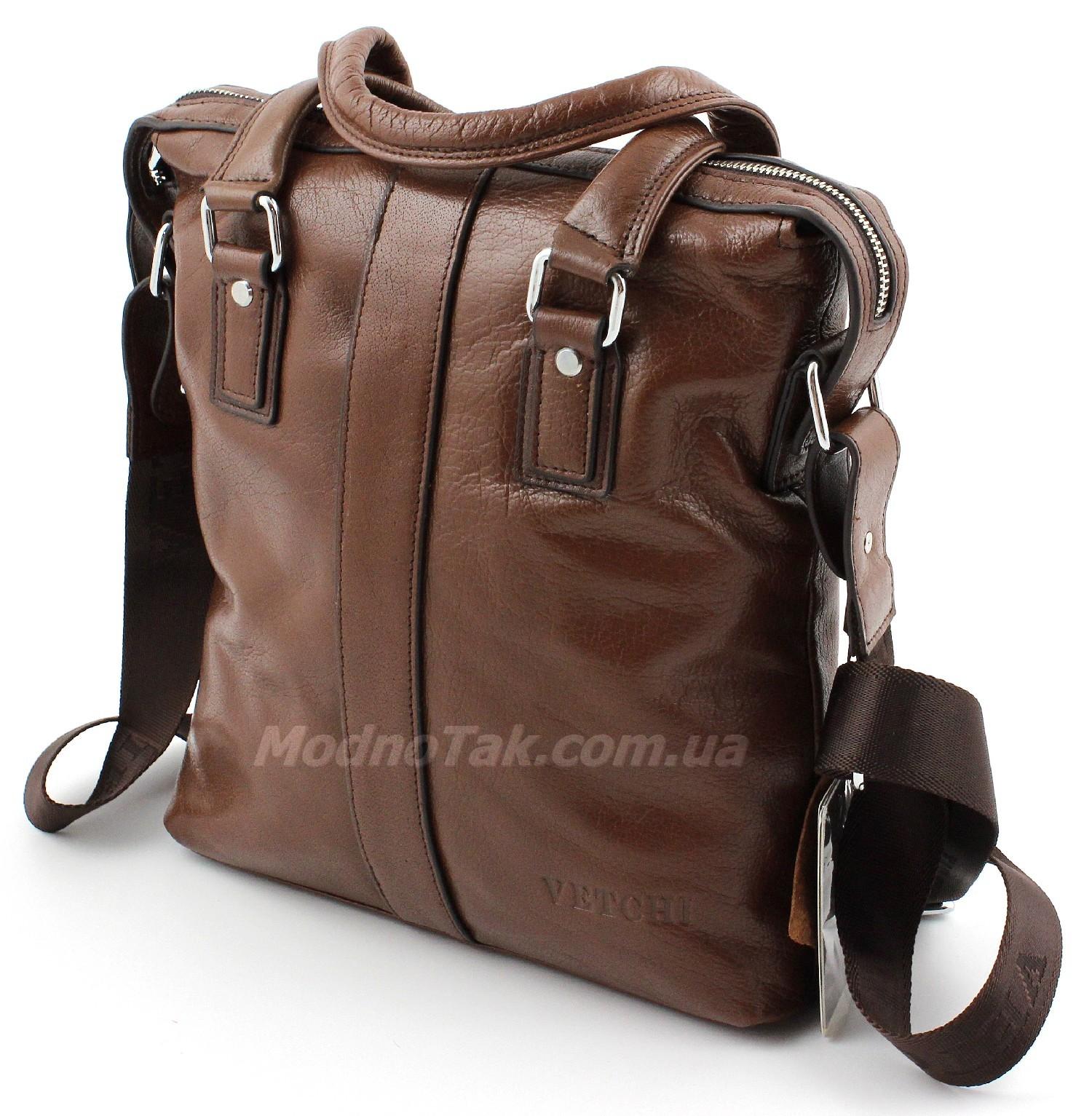 0170706fd730 Деловая мужская вертикальная кожаная сумка представительского класса под А4  VETCHI (10120)