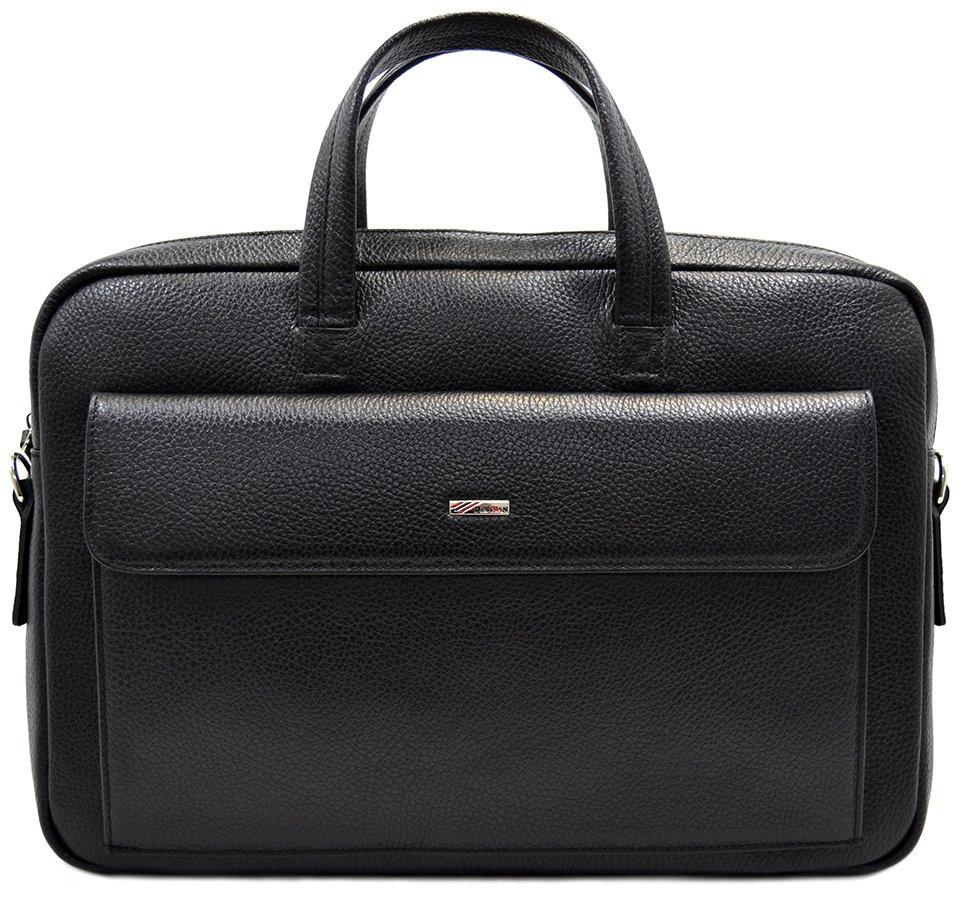 d21709fe8fa1 Черная кожаная сумка для ноутбука и документов А4 - DESISAN (11560 ...