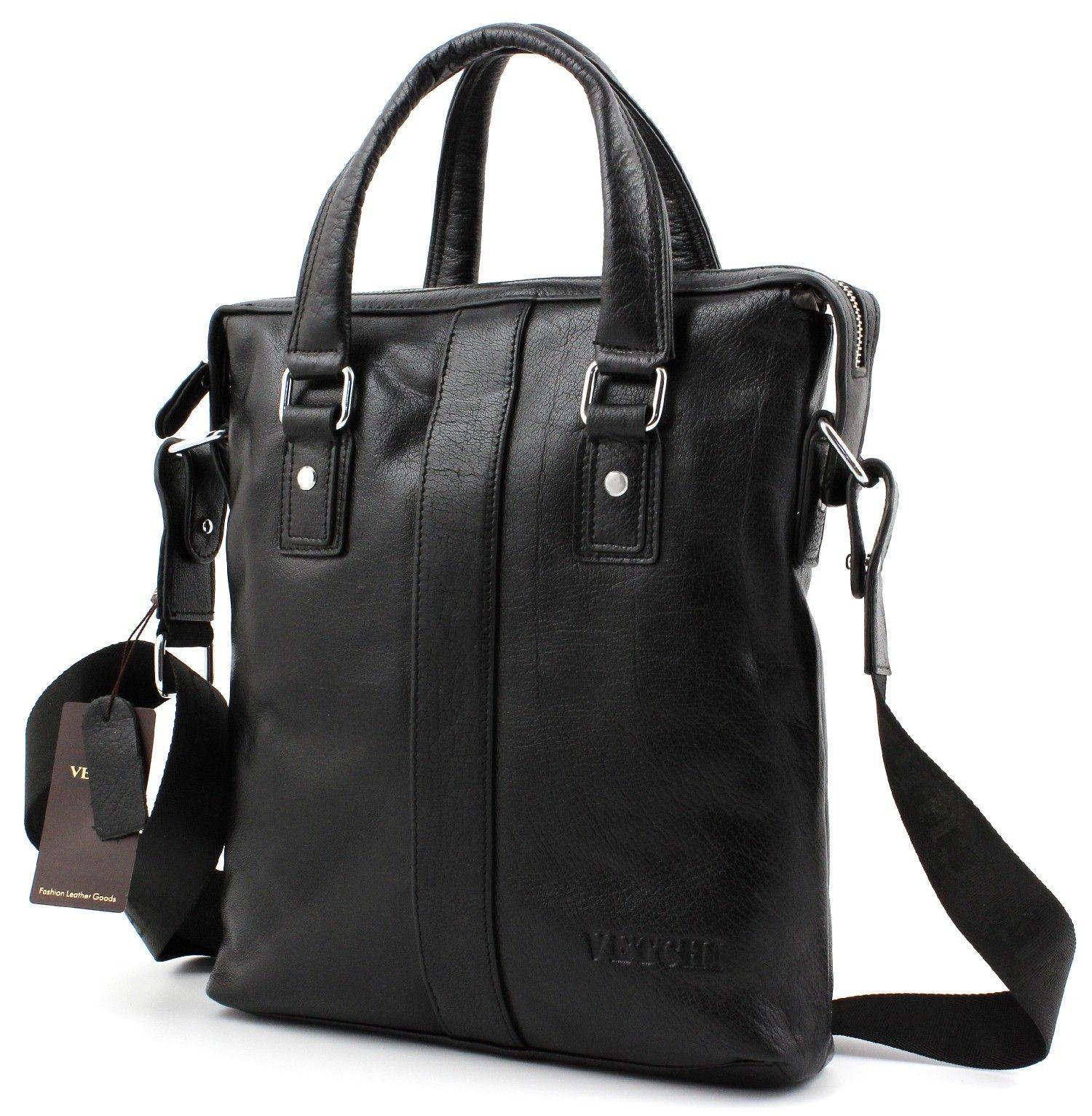 bcde5610352b Деловая вертикальная кожаная мужская сумка под личные вещи и документы формата  А4 от VETCHI (10135