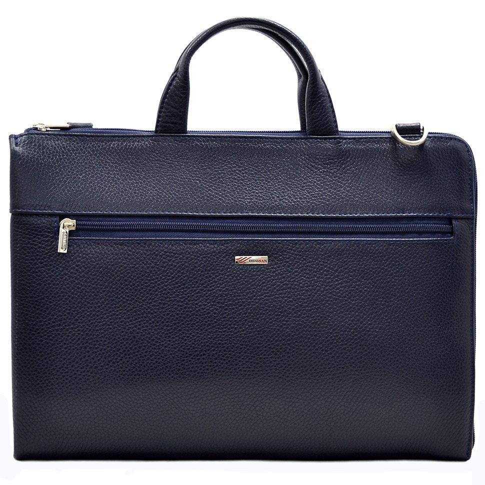 c663fbcbf08a Стильная кожаная сумка синего цвета для документов - DESISAN (11564 ...