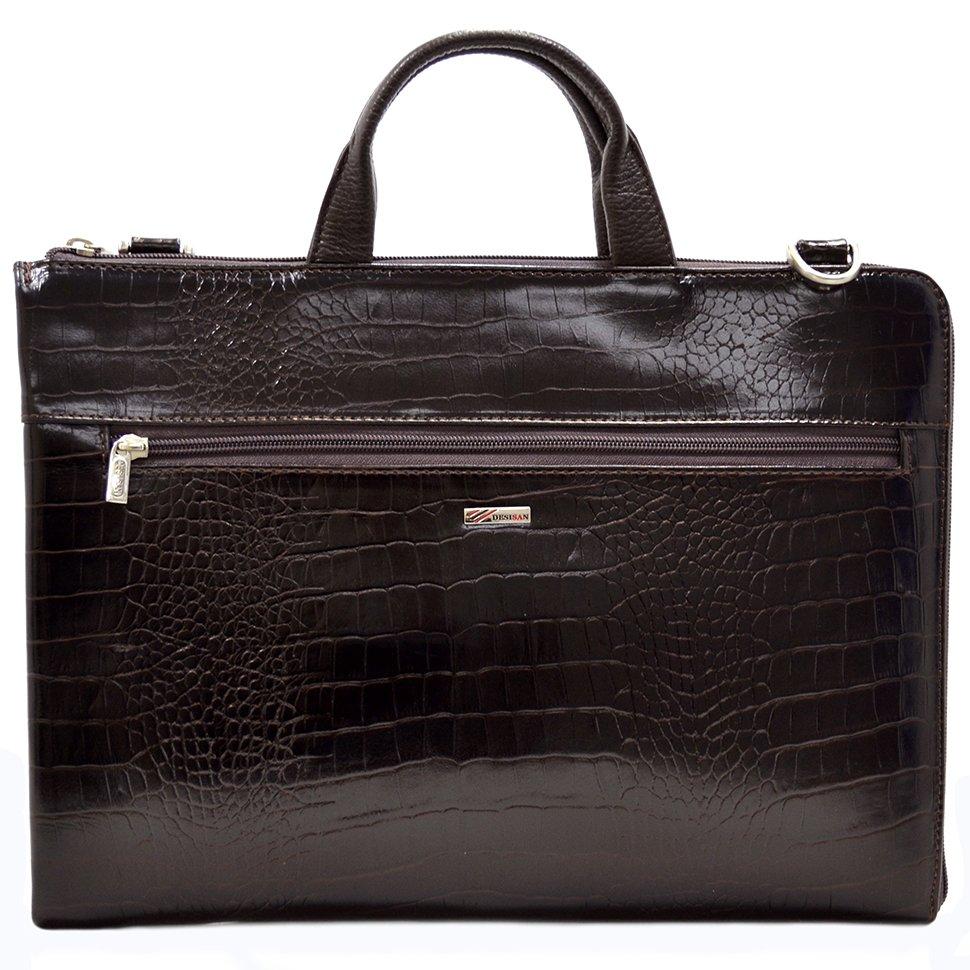2bd6b468080a Мужская сумка для документов из кожи под текстуру крокодила - DESISAN  (11563)