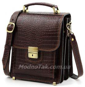 f81f225cc9e4 Элитная мужская сумка из натуральной итальянской кожи с фактурой под  крокодила коллекция