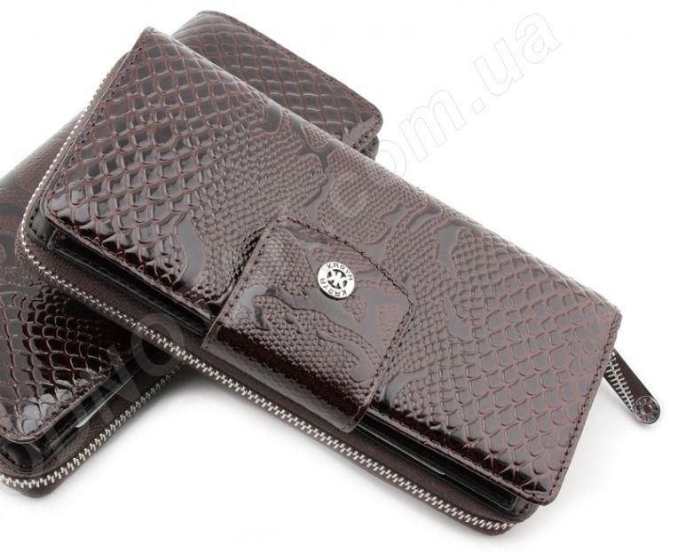 2aff9e2a014f Женский кожаный кошелек на молнии красивого шоколадного цвета Karya  (Турция) (17354)