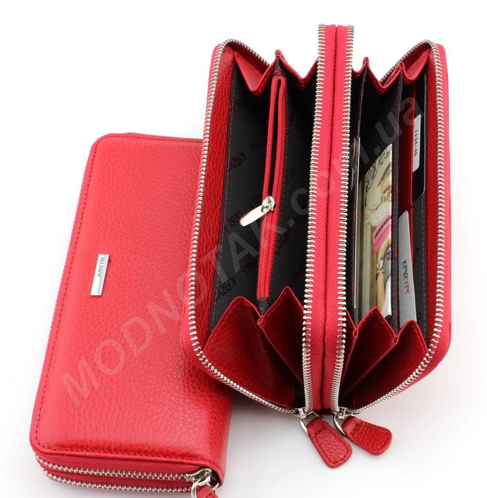 6219f1e00a20 ... Женский кожаный кошелек красного цвета на две молнии Karya (Турция)  (17361) ...