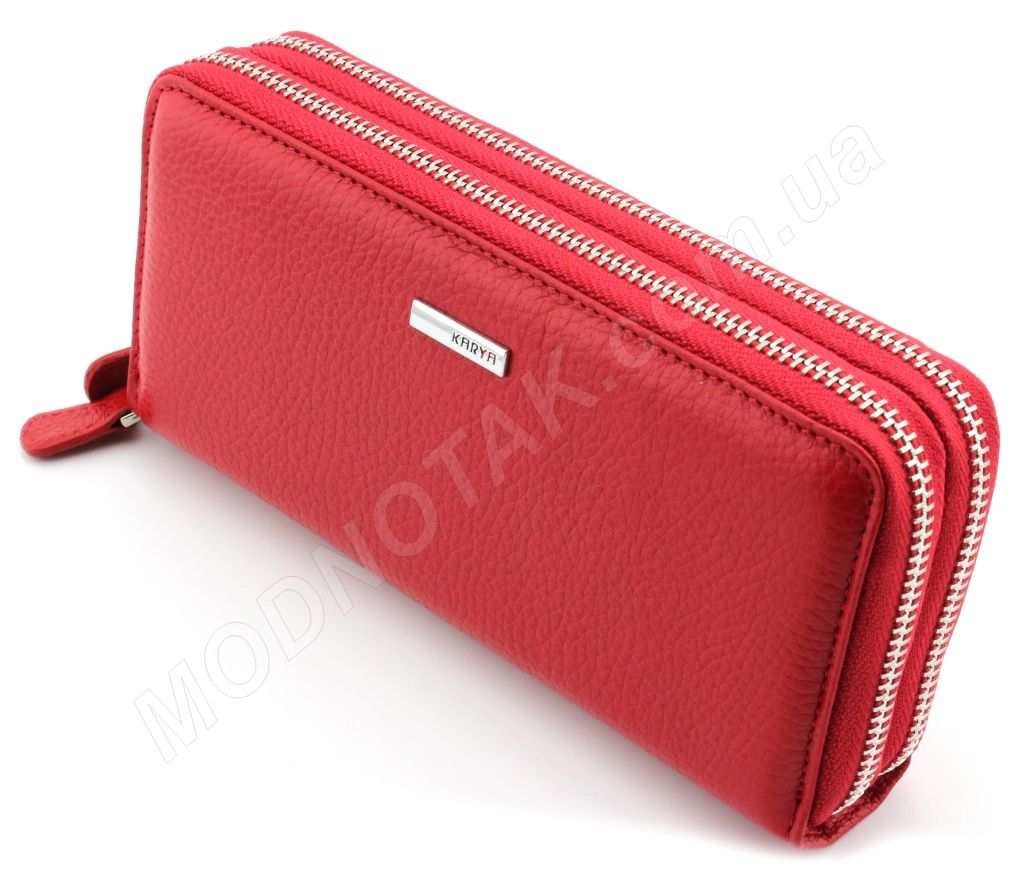 7eebfa2161f0 Женский кожаный кошелек красного цвета на две молнии Karya (Турция) (17361)