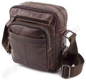 09f2b24a048b Стильная мужская сумка через плечо из натуральной кожи KLEVENT (11536)