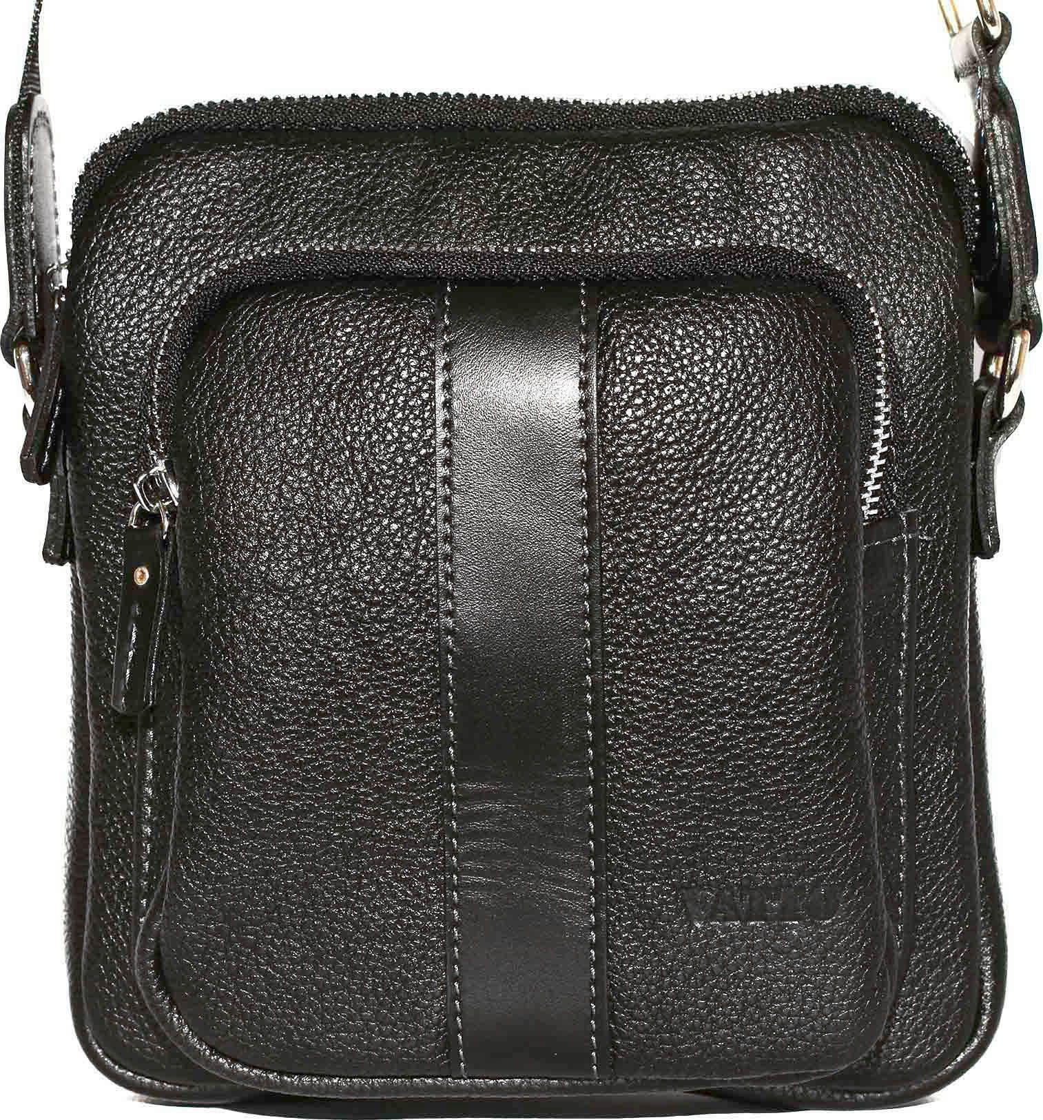 24124ffdf55f Маленькая черная мужская сумка из зернистой кожи VATTO (12087 ...