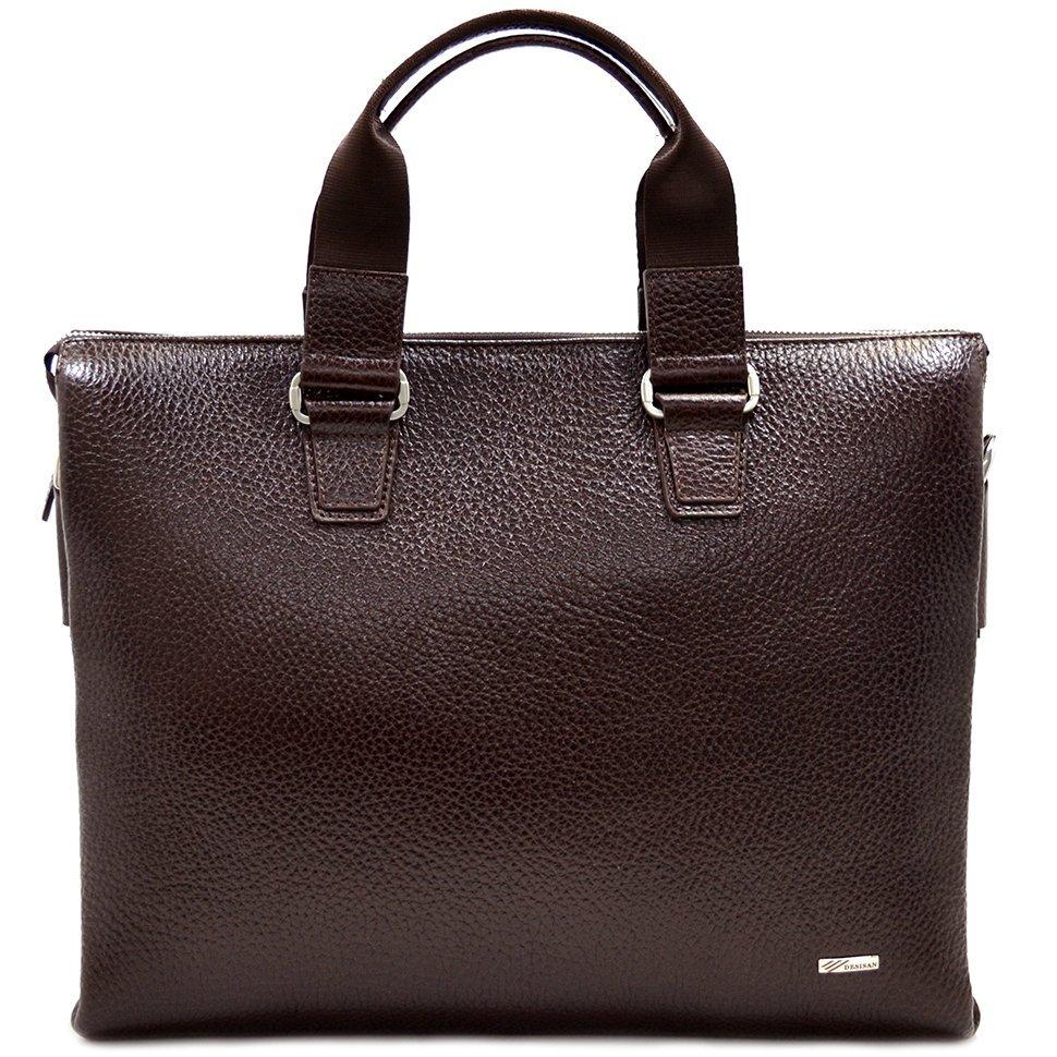 575302767f90 Горизонтальная кожаная сумка с ручками в коричневом цвете - DESISAN (11583)