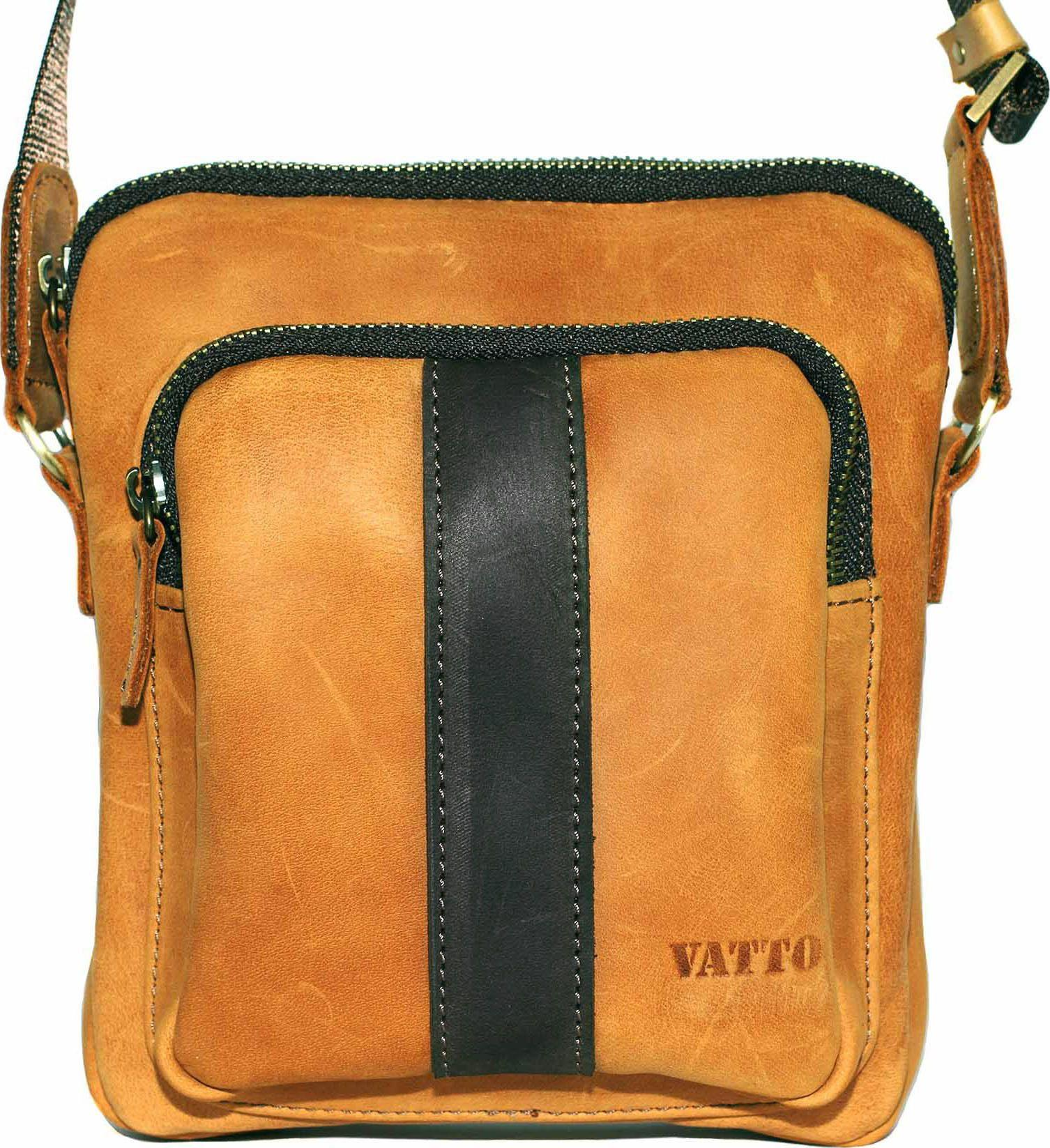 7f6e07513831 Мужская небольшая сумка рыжего цвета с черной вставкой VATTO (12090 ...