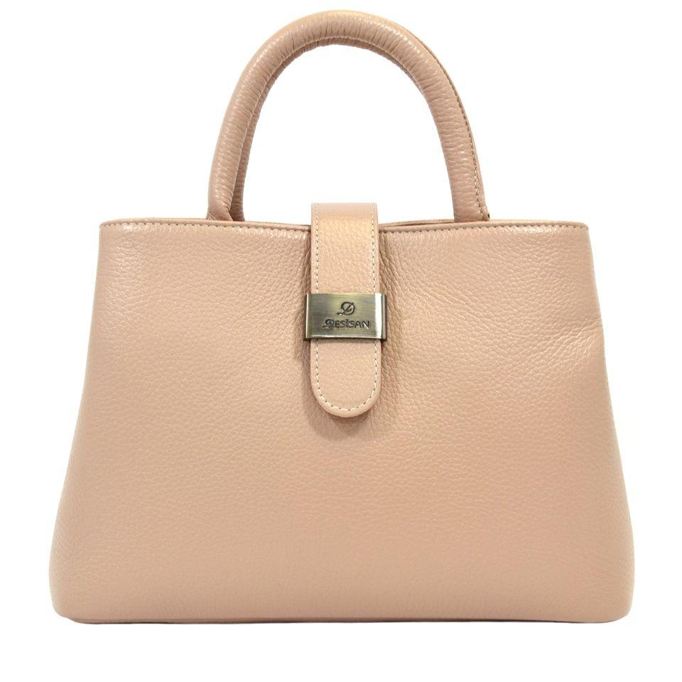 dfae62dca93a Женская кожаная сумка пудрового цвета с ручками Desisan (28300 ...