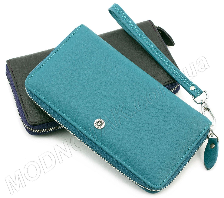 991431f1352d Кожаный кошелек на молнии BOSTON: купить женский кошелек бирюзового ...