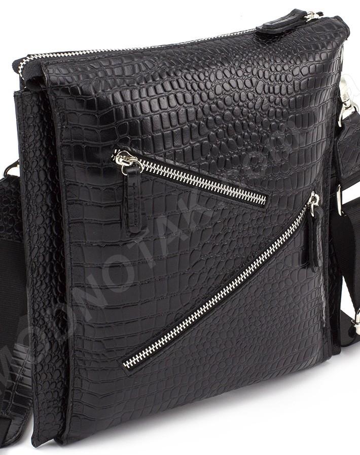 4f4482d8a342 Итальянская мужская кожаная сумка - планшет с фактурой крокодила VIP  COLLECTION (0-2053-1)