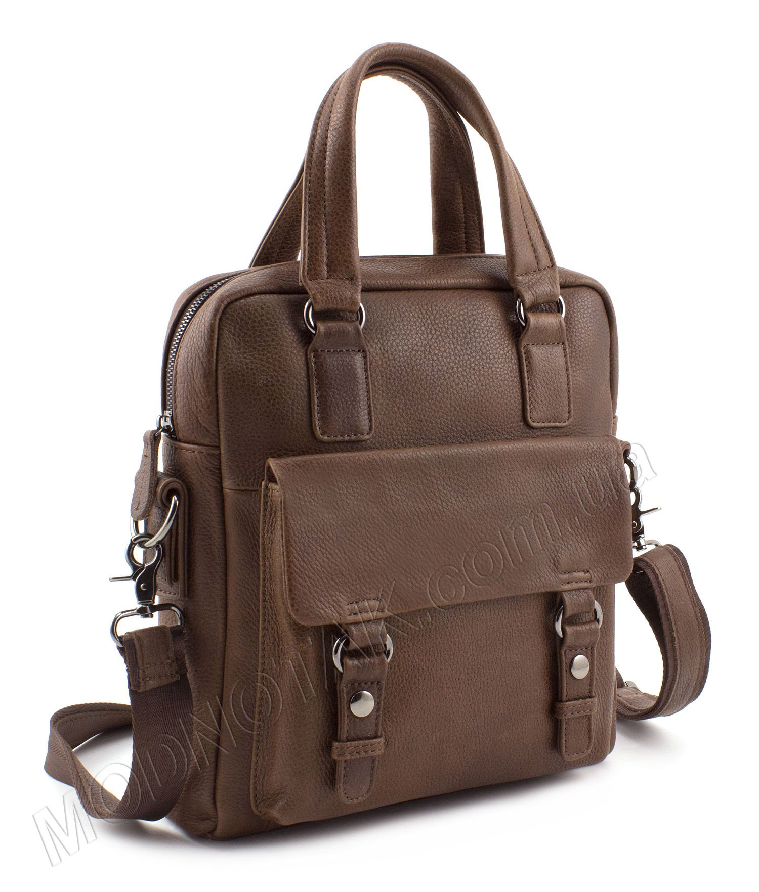 07ecb98bfcf7 Мужская кожаная сумка-мессенджер коричневого цвета для 10-дюймового  планшета - KLEVENT (10130