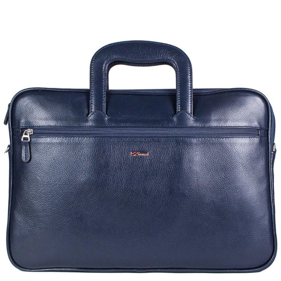b5602896134b Деловая синяя сумка синего цвета из выдвижными ручками - DESISAN (11594)