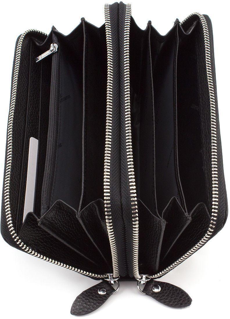 93e973f1f53a Вместительный женский кошелек на две молнии черного цвета - ST Leather  (17071)
