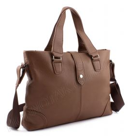 6f5a1b978b21 Мужская кожаная сумка коньячного цвета для папки формата А4 - KLEVENT  (10240)
