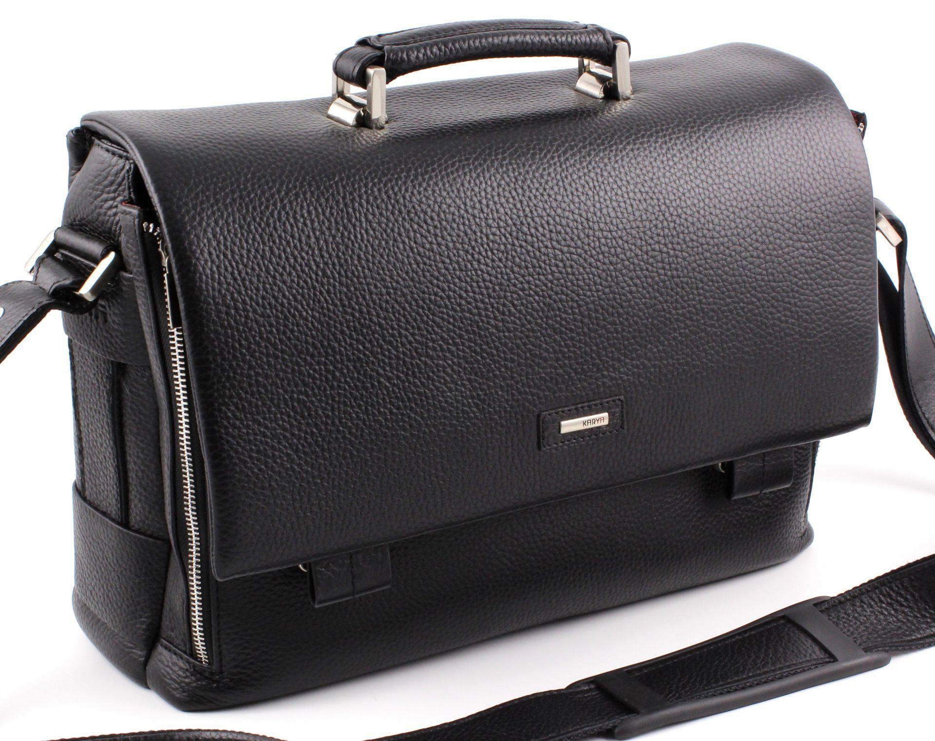 23c8580f8b91 Элитная турецкая мужская деловая кожаная сумка-портфель Karya под документы  А4 (10263)