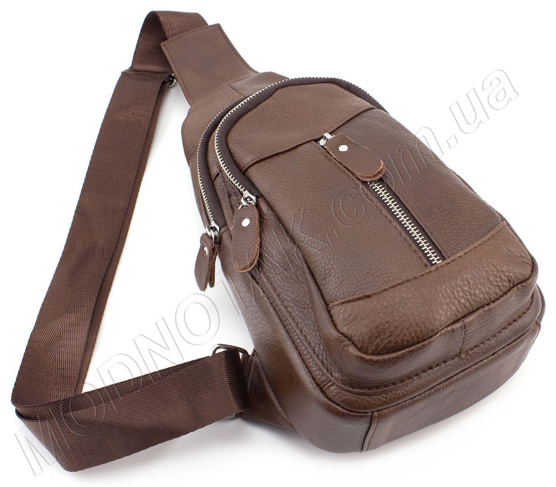 4d3bc9aaff14 Кожаный мини рюкзак через плечо коричневого цвета Leather Collection (11521)