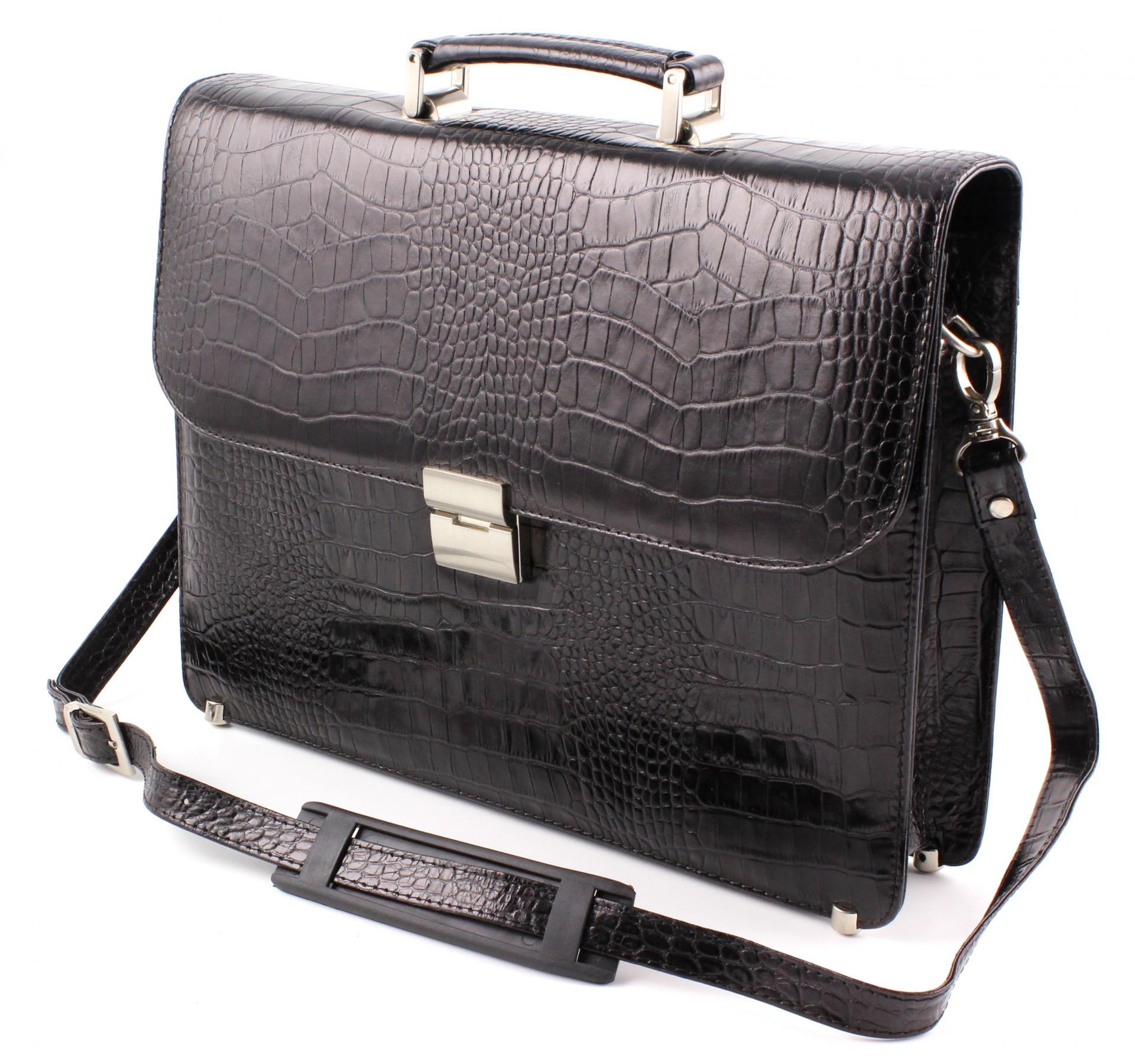 2f63086bdeae Кожаный мужской портфель турецкого бренда Karya с фактурой крокодила (10265)