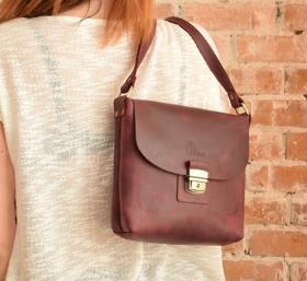 Кожаная женская сумка цвета марсала ручной работы SB1995 (28385) ... e81c696106c09