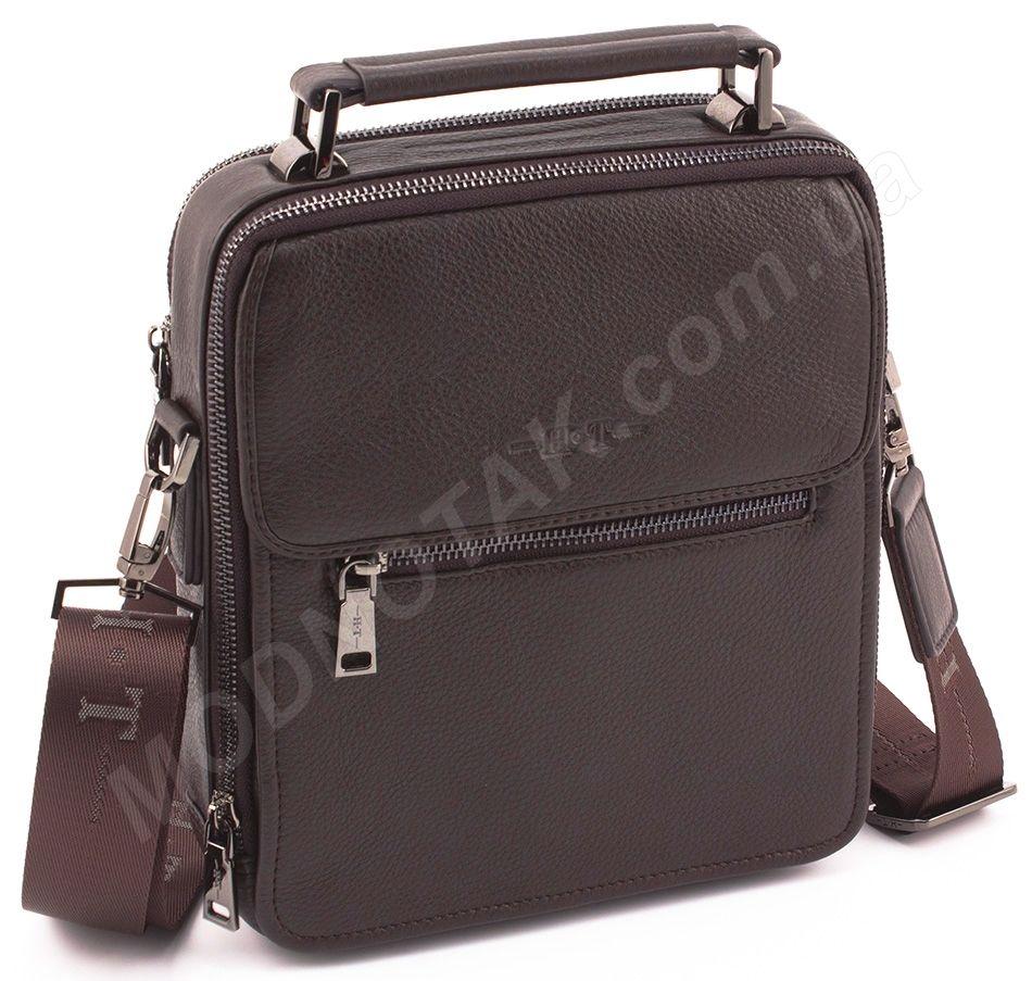 0949d6f57d9b Каркасная кожаная мужская сумка красивого коричневого цвета H.T Leather  (10343)