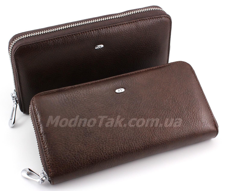 72ba0d410131 Женский коричневый кошелек на молнии ST Leather Accessories (17205)  (Вмещает много карточек)