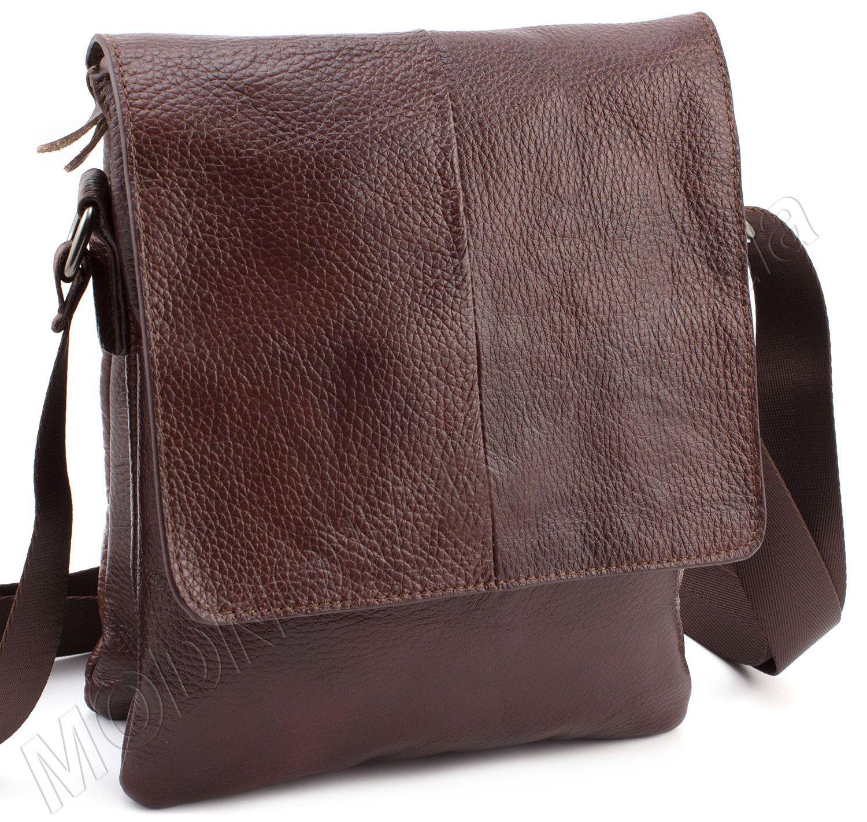 4ec24e38230c Кожаная плоская сумка в коричневом цвете с клапаном Leather Collection  (11519)