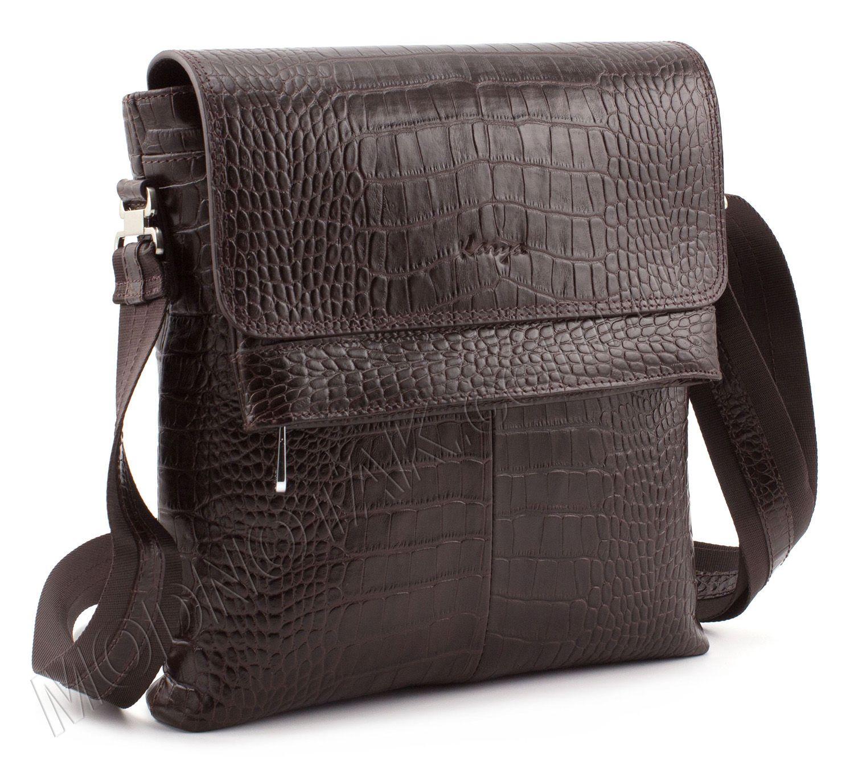 8780a5f1427c Коричневая мужская сумка через плечо с фактурой под кожу рептилии - KARYA  (10396)