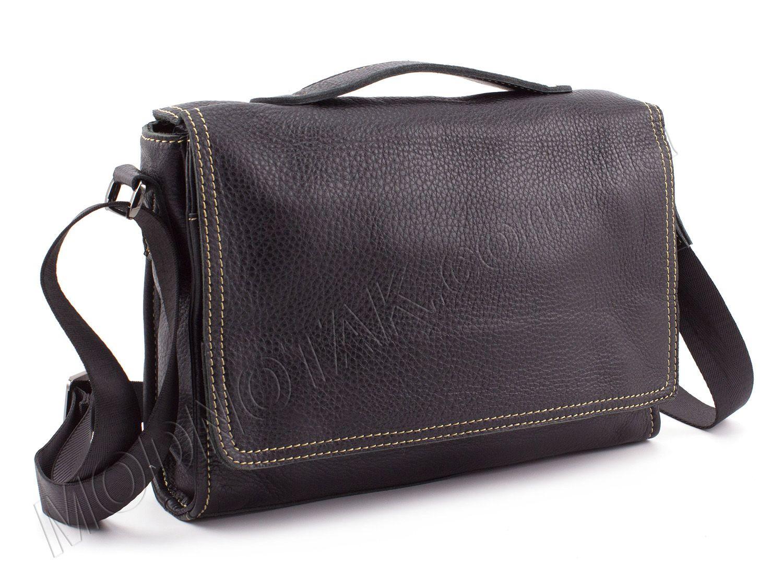 21bb84108367 Кожаная мужская сумка-почтальонка со светлой строчкой - KLEVENT (10021)