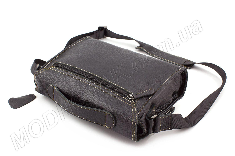 eec66abf58c1 Кожаная мужская сумка-почтальонка со светлой строчкой - KLEVENT (10021)