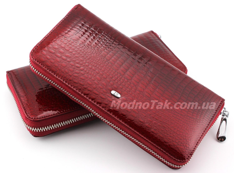 81ac8572c3fb Большой лакированный кожаный женский кошелек красного цвета на молнии ST  Leather Accessories (17213)